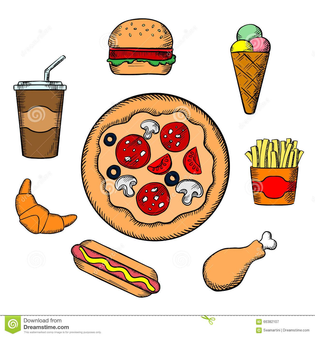 Pizza Burger Fries Ice Cream Soda Fast food icons with