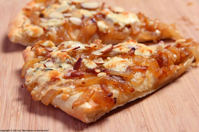 Spicy Pizza with Gorgonzola, Caramelized Onions and Almonds
