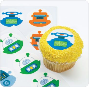 Cupcake toppers Party Stuff Pinterest Robot, Icing cupcakes