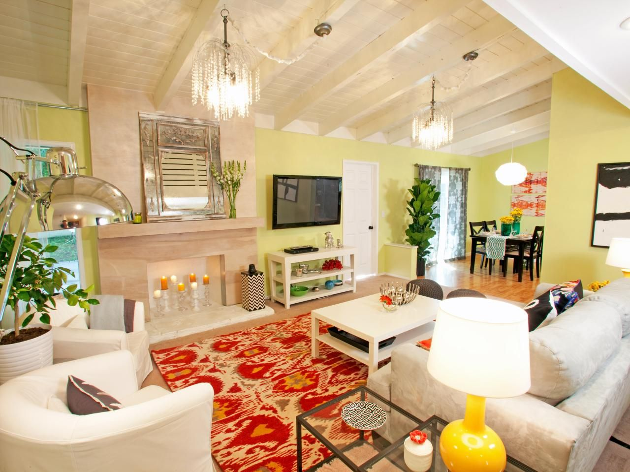 A little color and pattern goes a long way in this living room ...