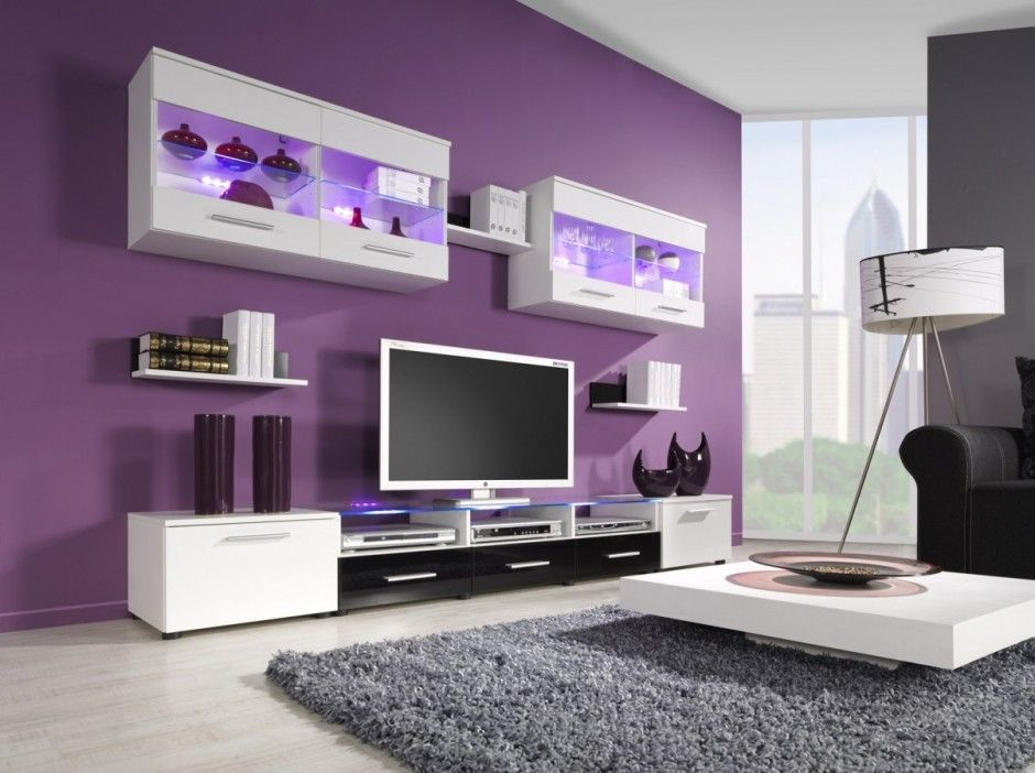 This Lavender Color On My Entertainment Center Wall With Light Grey Walls For The Rest Of The Livingroom Purple Living Room Living Room Wall Units Purple Rooms