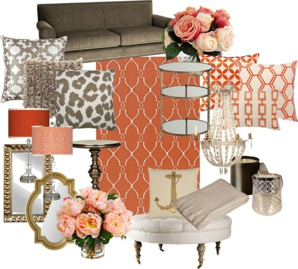 Coral And Gold Living Room