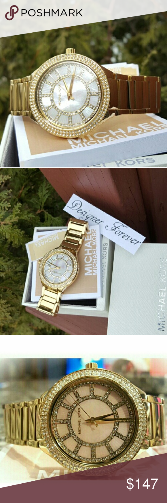 Michael Kors gold Kerry MK bracelet watch MK3396 Guaranteed Authentic MK3396 / Model: Kerry / Gold stainless steel band / New with Michael Kors watch box and owners booklet included / Glitz dial / 38mm / 5 ATM / UPC: 796483175075 / No trades. Buy now or offer only / Shipped same business day. Michael Kors Accessories Watches