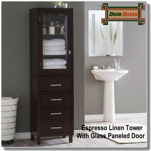 Espresso Linen Tower With Glass Paneled Door Clean Linens Clean Lines That S The Story Of This Espresso Linen Tower With Glass Paneled Door This Tall Stora