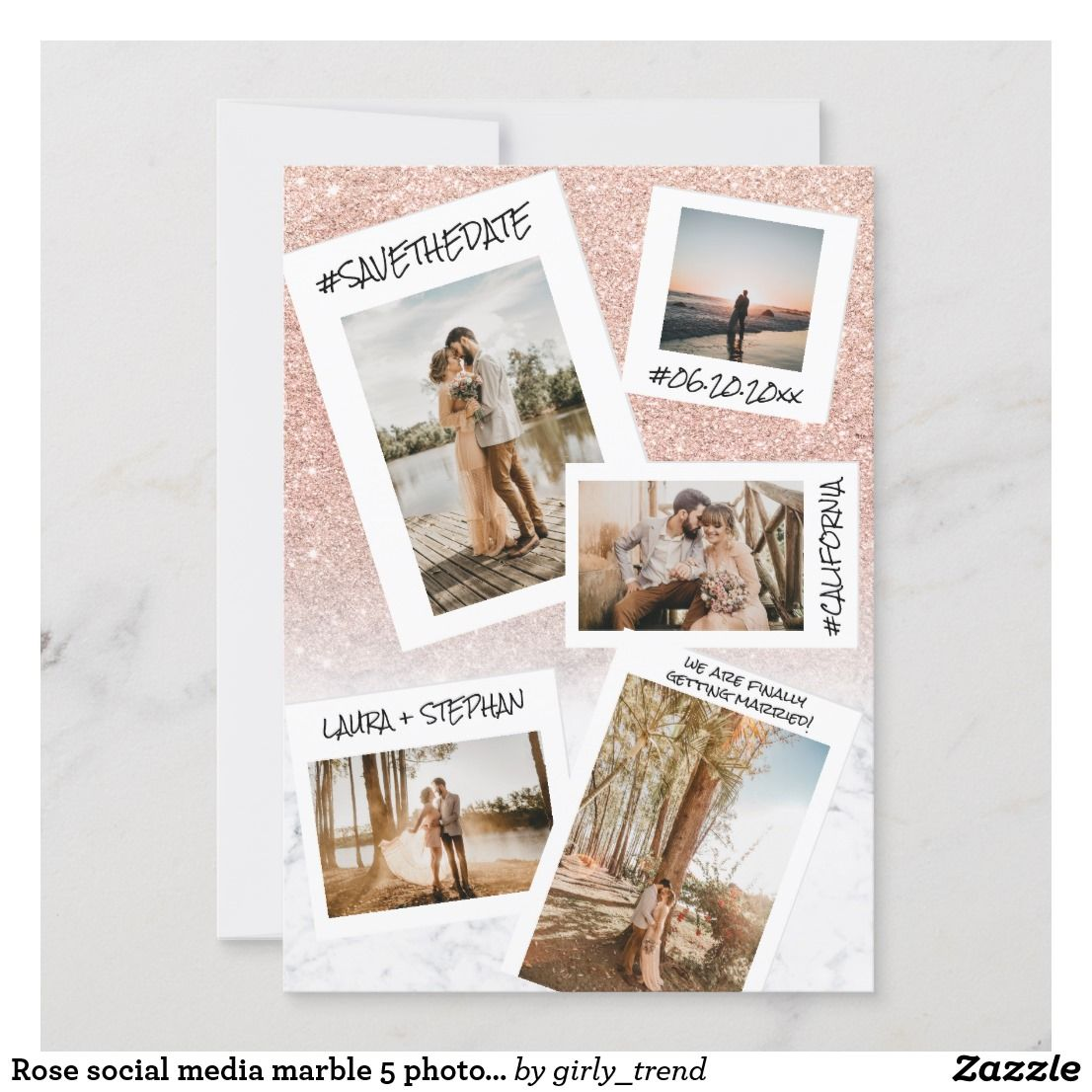 Rose Social Media Marble 5 Photo Save The Date