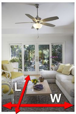 ceiling fan size for living room tan sectional decor guide how to measure and a any the square footage get right your