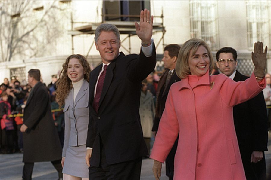 President Bill Clinton, First Lady Hillary Clinton and daughter Chelsea parade down Pennsylvania Avenue on Inauguration Day, Jan. 20,…