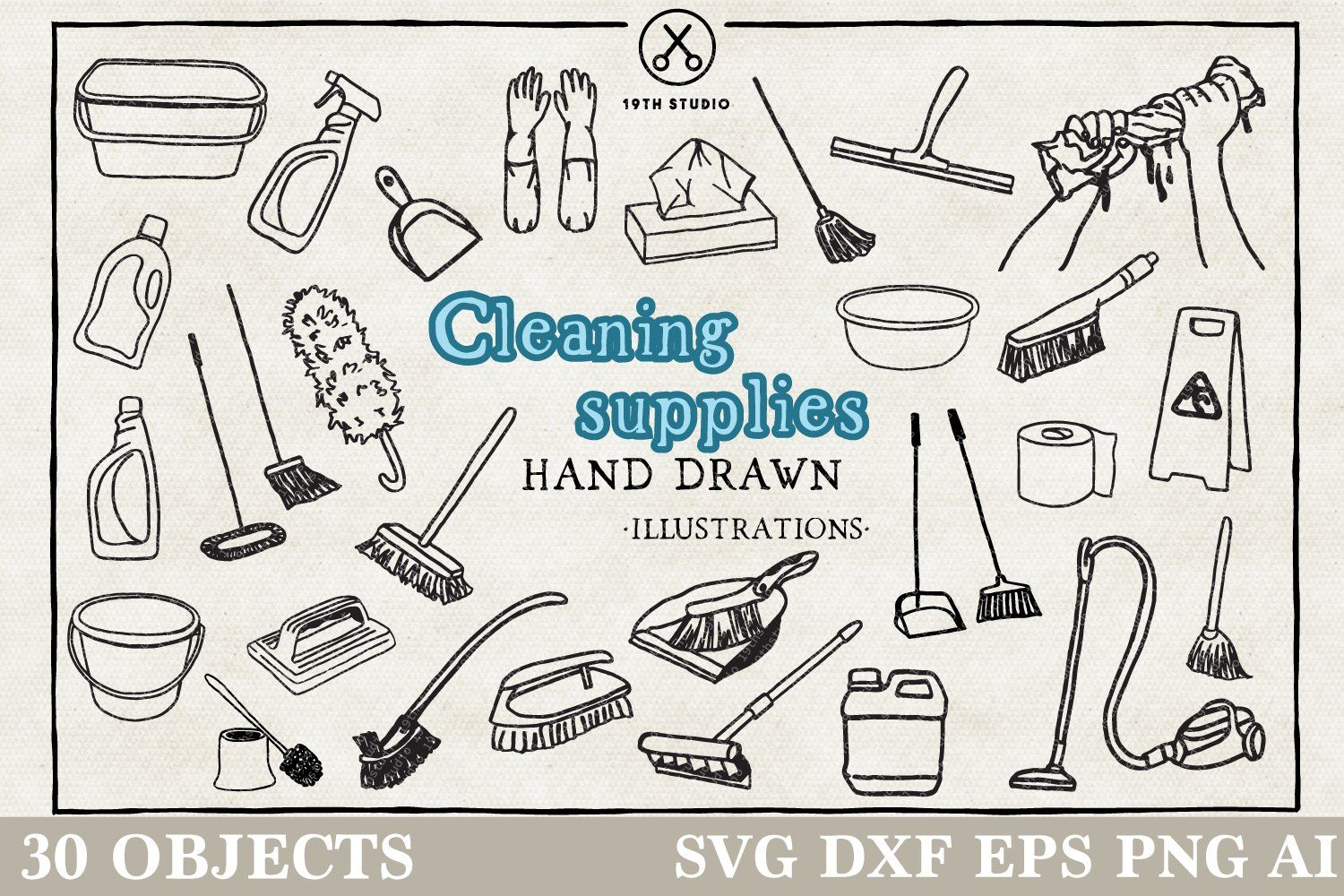 Cleaning Supplies Illustration Pack Cleaning Hacks Cleaning