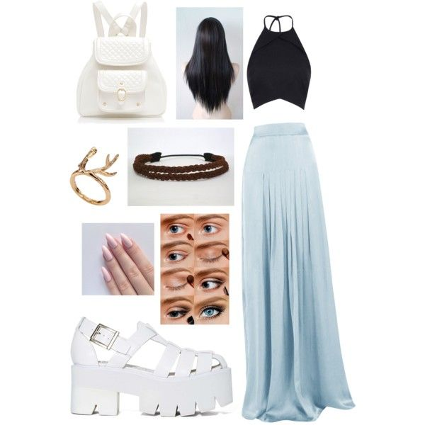 A fashion look from December 2014 featuring Matthew Williamson skirts, Jeffrey Campbell sandals and Forever New backpacks. Browse and shop related looks.