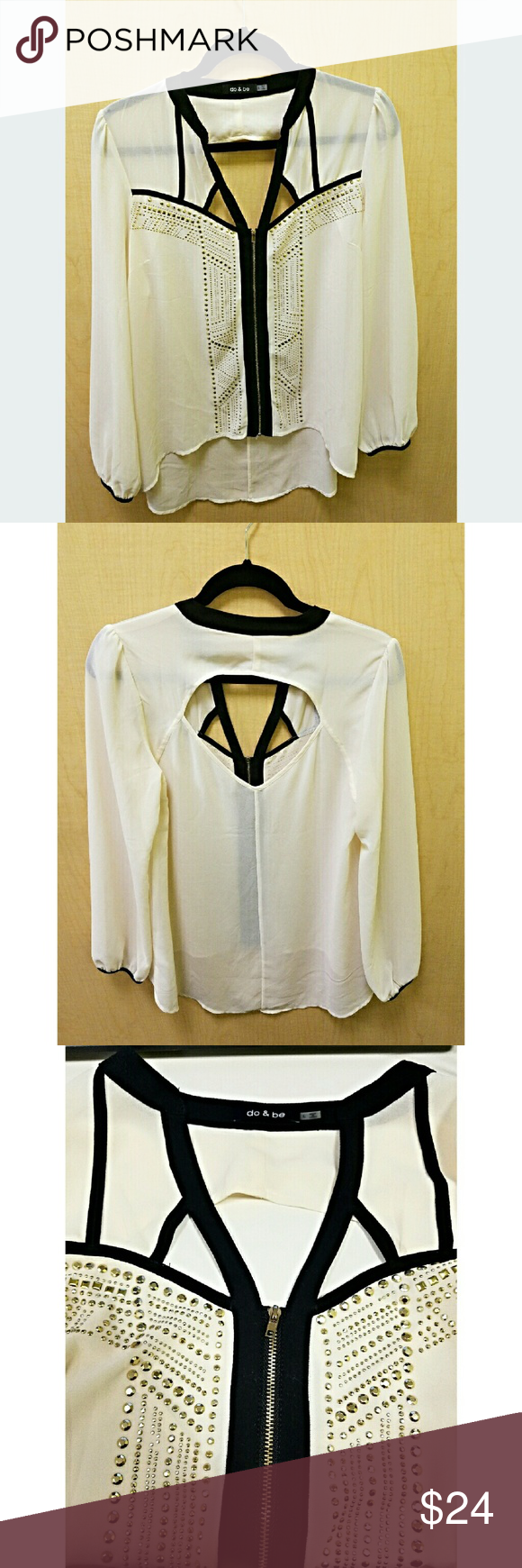 """NWOT Do & Be Cutout Studded Blouse This sheer ivory blouse has two cutouts on the front and one large cutout on the back, black accents and studs adorning the front.  - Brand new, never worn - Front 25.5"""", back 31"""" Do & Be Tops Blouses"""