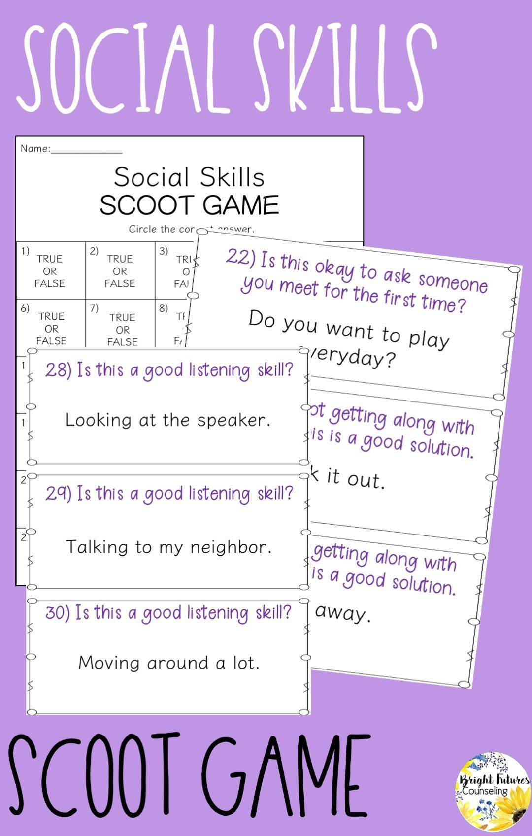 Social Skills Scoot Game Interactive Social Skills Game