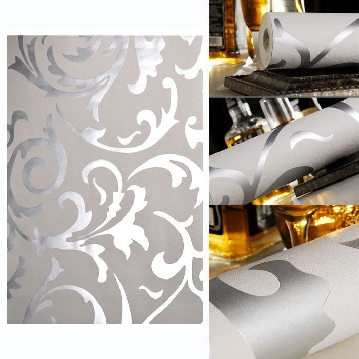 Wallpaper Designer Silver and Gold Scrolls on Cream Faux
