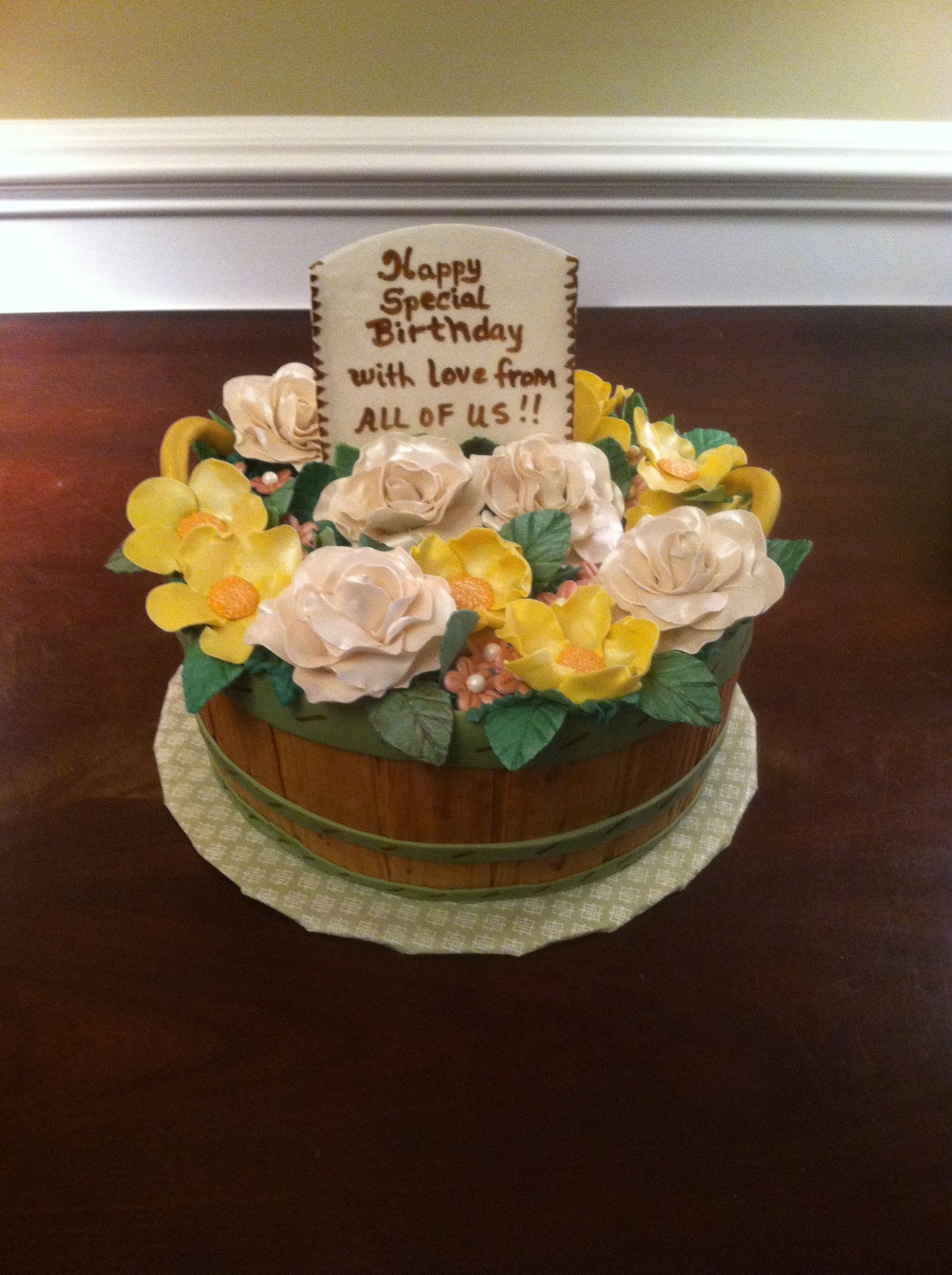 Bushel Basket Of Flowers Cake My Cakes Pinterest Bushel