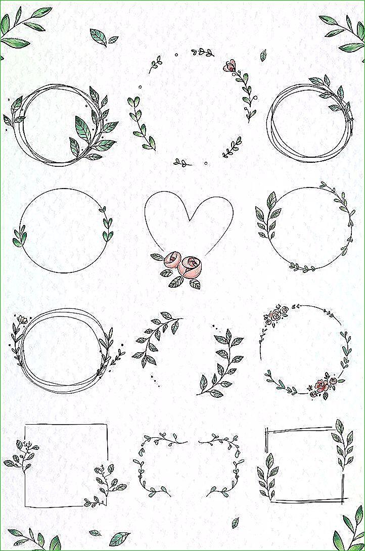 La meilleure illustration de téléchargement premium du vecteur doodle bloemenkrans …   – Handlettering