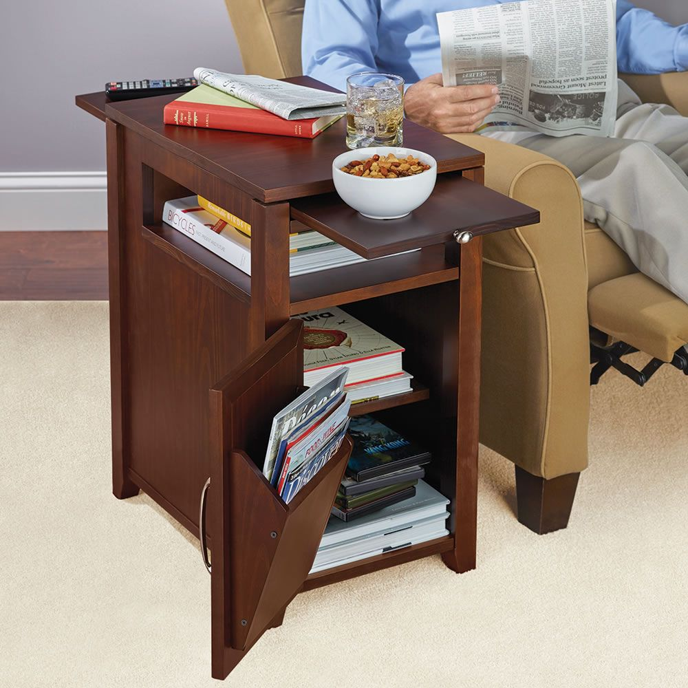 The Easy Access Recliner Side Table Hammacher Schlemmer This Is The Side Table Designed Specifically For Reclinin Recliner Table Chair Side Table Side Table