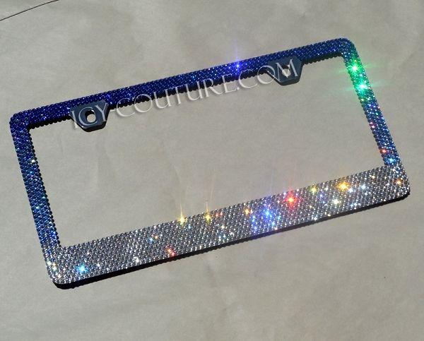 Sapphire Ombre Swarovski Crystals License Plate Frame Swarovski Crystals Crystals Car Bling