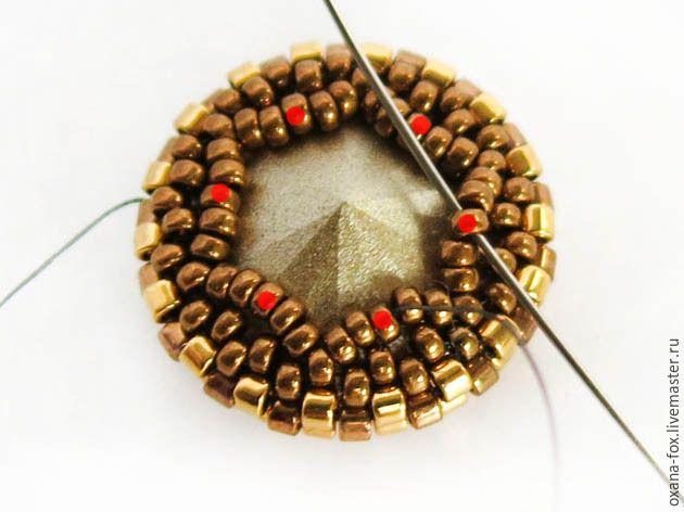 Оригинальное оплетение риволи на примере серег «Golden stars» - Ярмарка Мастеров - ручная работа, handmade
