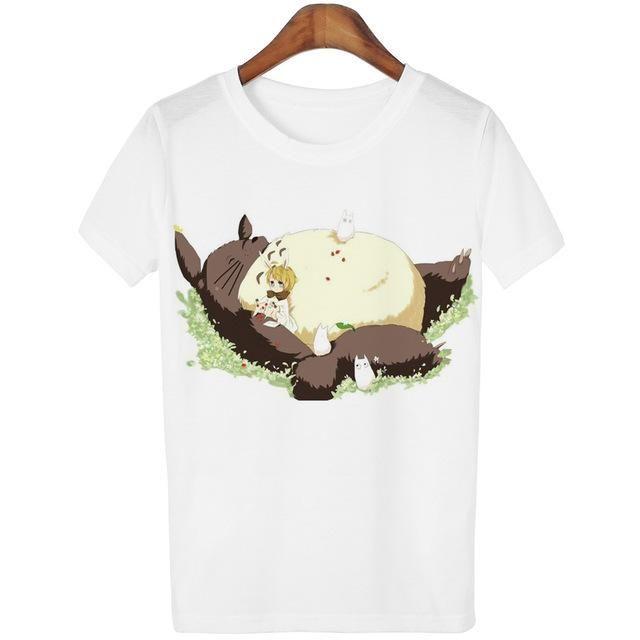 Casual T-shirt Women Totoro Print o-neck tshirt Cute Tees ...