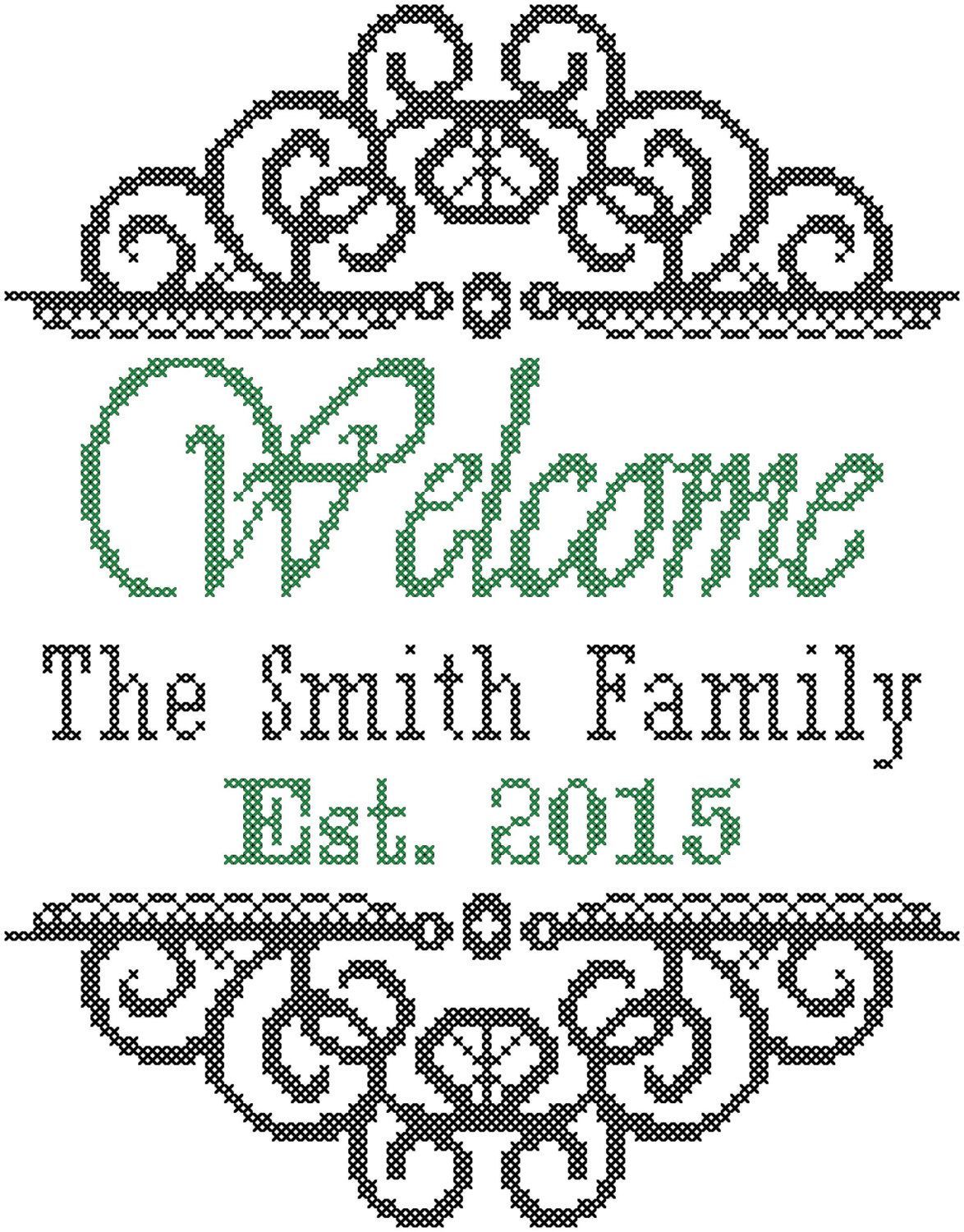 Cross Stitch Pattern: Welcome Sign with Family Name and Ornate ...