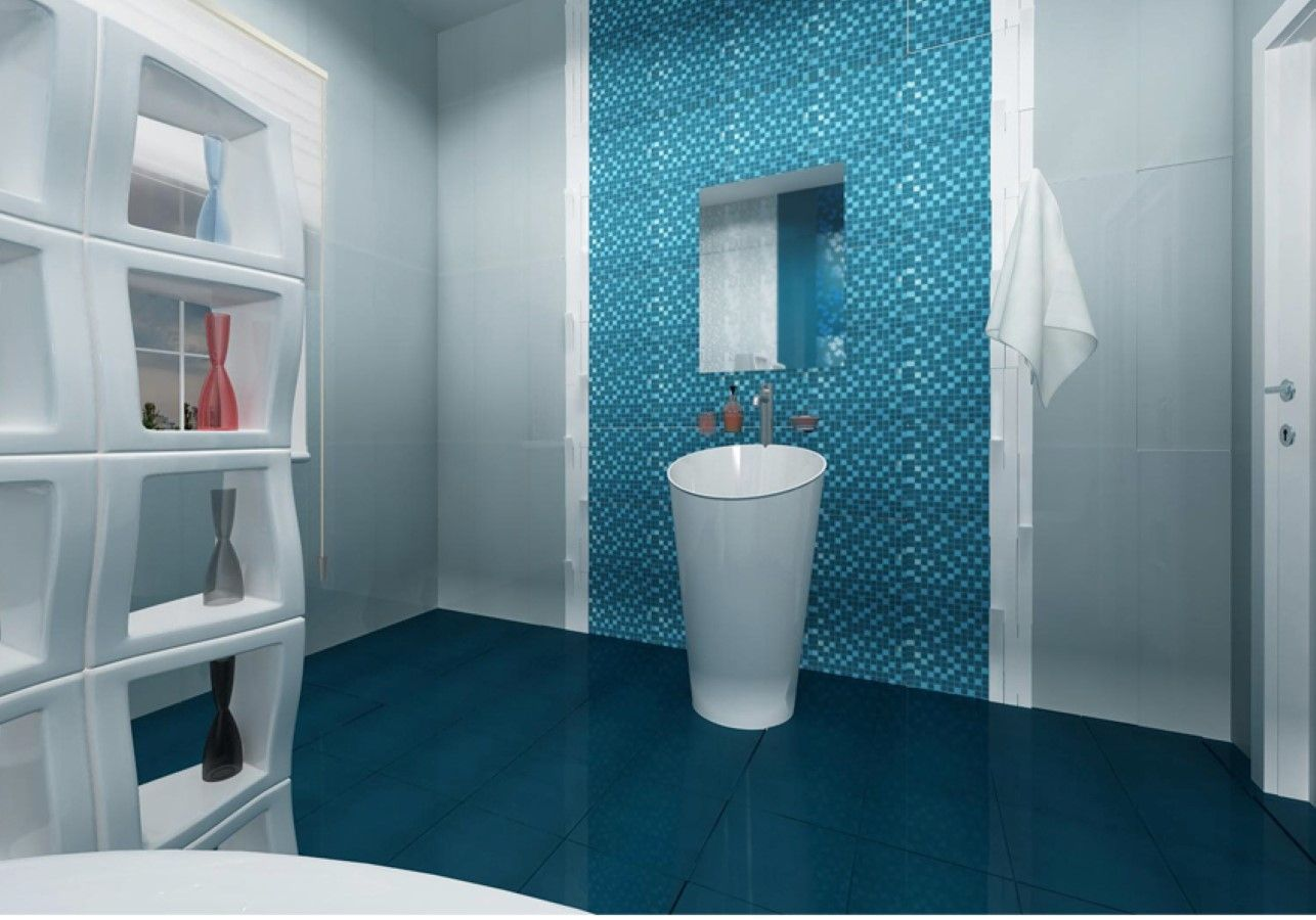 Charming Navy Blue Bathroom Floor Tiles Design