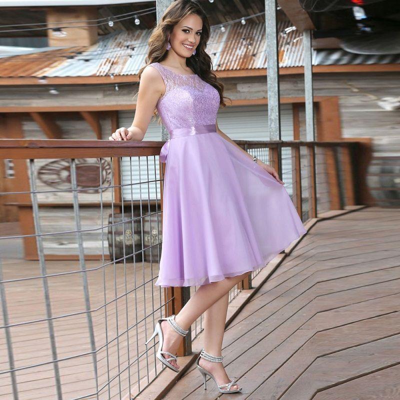2016 Lavender Chiffon Vintage Short Cocktail Dress A-Line Lace Knee ...