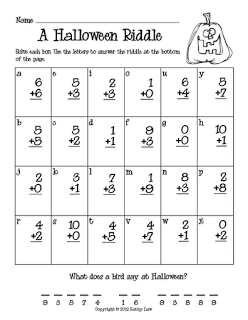 Raadsels Halloween.First Grade A La Carte Halloween Riddle Addition First