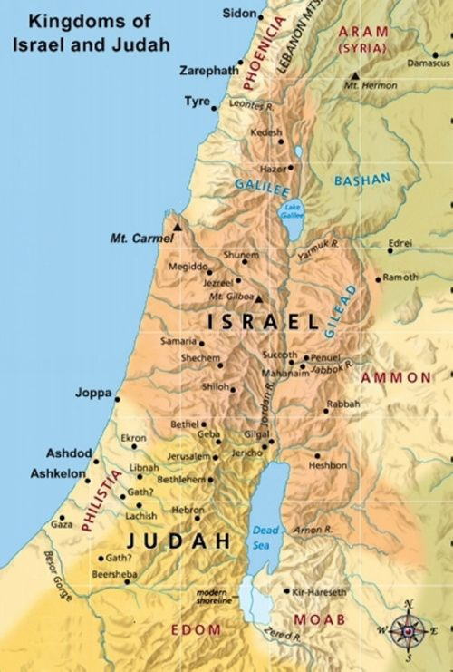 Large Map showing Israel and Judah Bible Study Pinterest