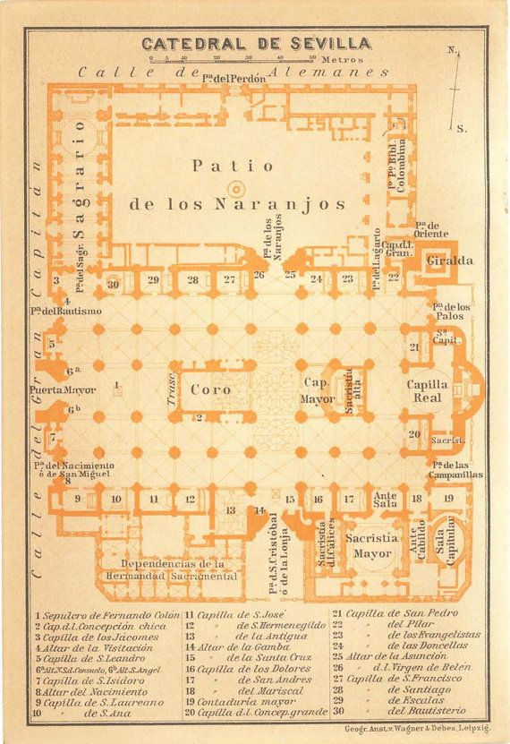 1912 Seville Cathedral Floor Plan Gothic Church Andalusia Spain Architecture How To Plan Cathedral Floor Plans
