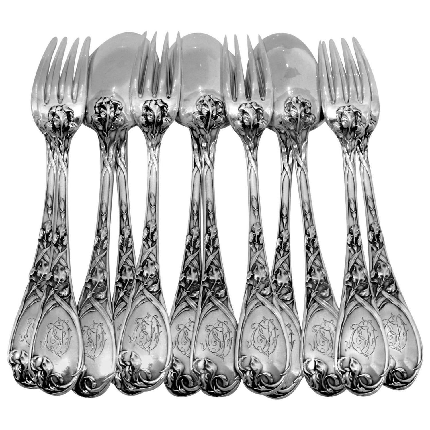 PUIFORCAT Fabulous French Sterling Silver Dinner Flatware Set 12 pc Iris | From a unique collection of vintage dinnerware and flatware sets at ...  sc 1 st  Pinterest & PUIFORCAT Fabulous French Sterling Silver Dinner Flatware Set 12 pc ...