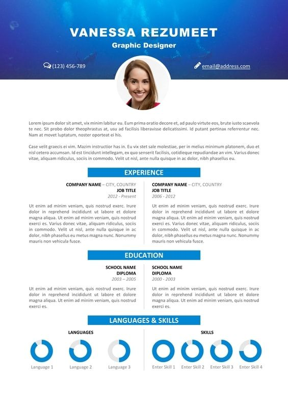 Vesterbro Free Nature Resume Template Scuba Diving Resume Template Resume Design Template Resume Template Free
