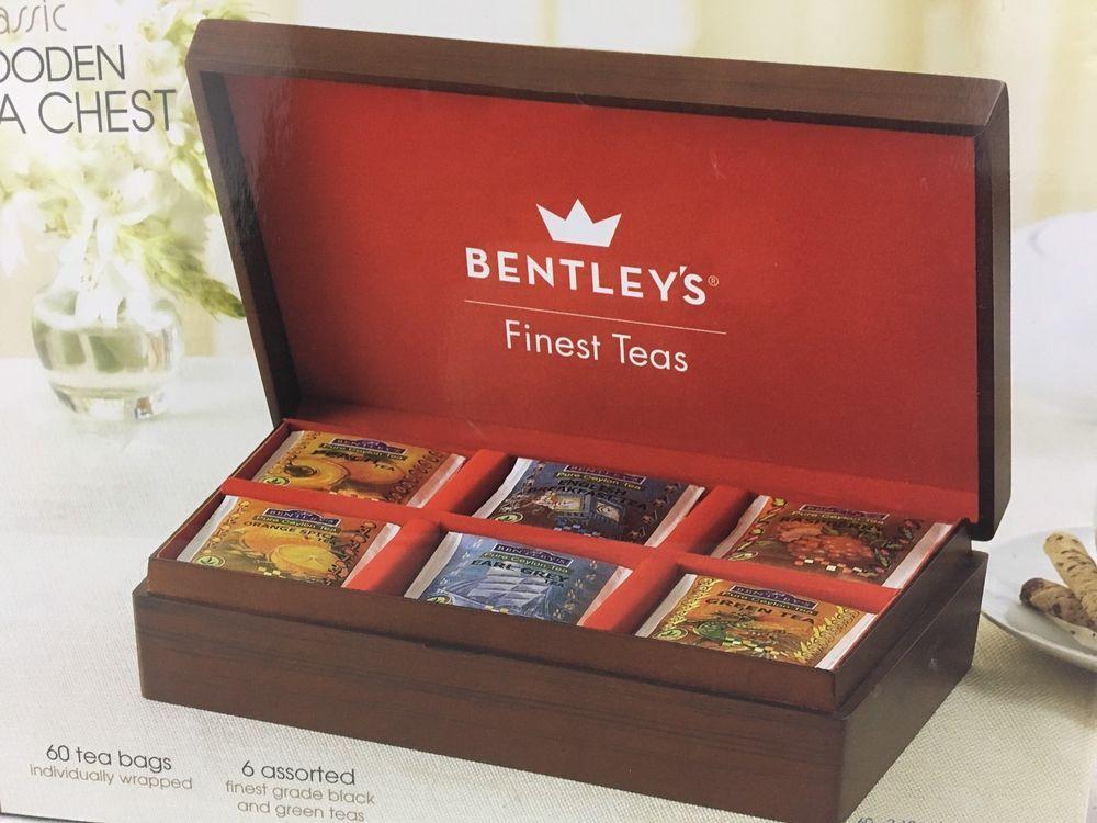 Bentley Tea Wooden Tea Bag Chest With 60 Assorted Tea Bags Storage