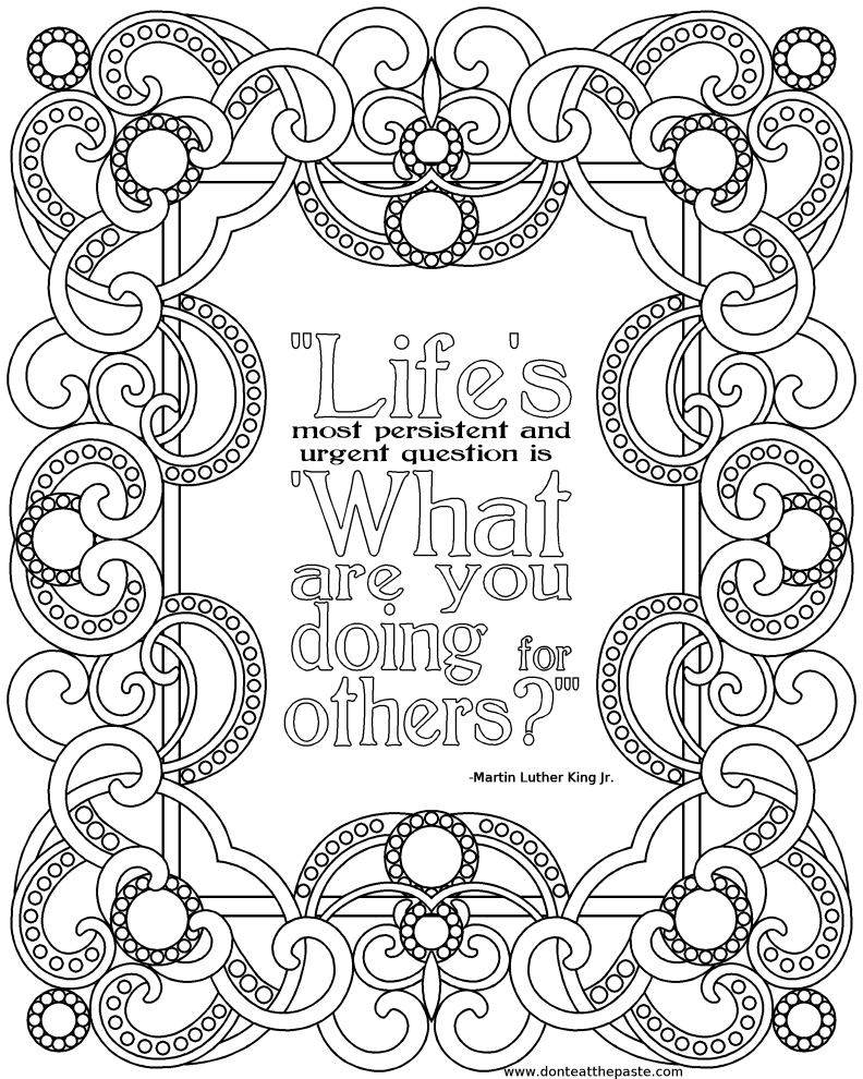 martin luther king jr printable andor coloring pages - Quote Coloring Pages