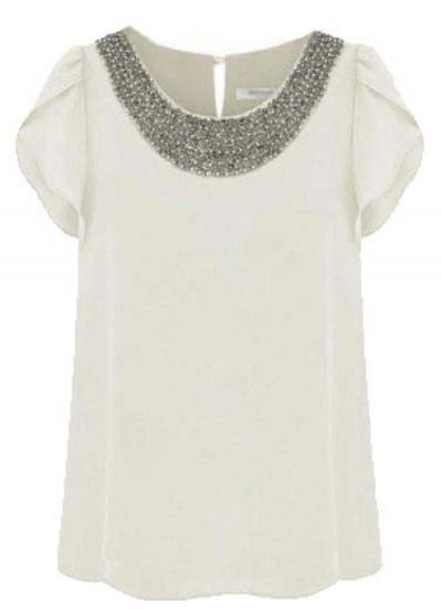 White Short Sleeve Bead Chiffon Blouse Pictures Clothes Fashion Style