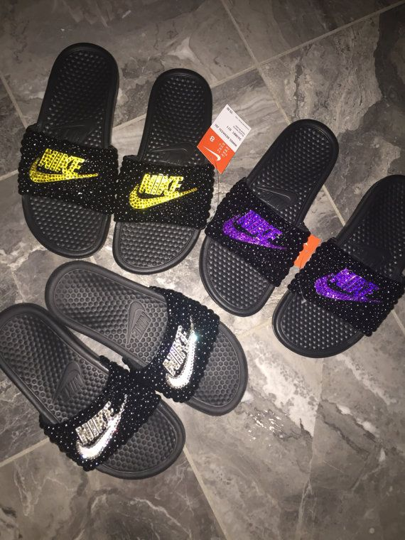 watch 8dbb6 02e7a Custom NIKE slides. Find this Pin and more on Flip Flops by Meg s High  Heels, Sandals, Slippers, Boots, and Shoes.
