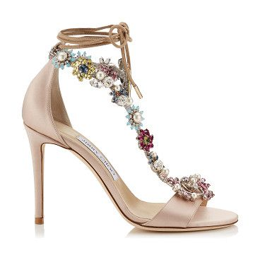 Cheap Jimmy Choo Rose/Camellia Mix Reign 100 Satin Heeled Sandals for Women Outlet