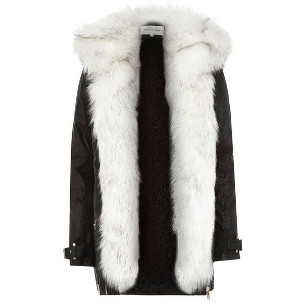 River island black jacket with white fur