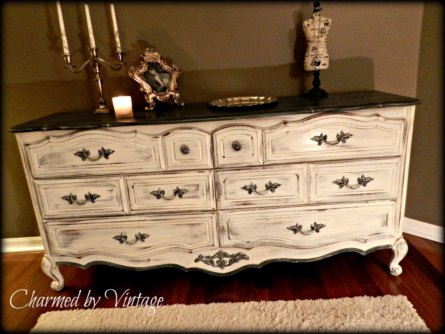 french shabby glam black and white dresser exactly how i want my dresser to look diy crafts. Black Bedroom Furniture Sets. Home Design Ideas
