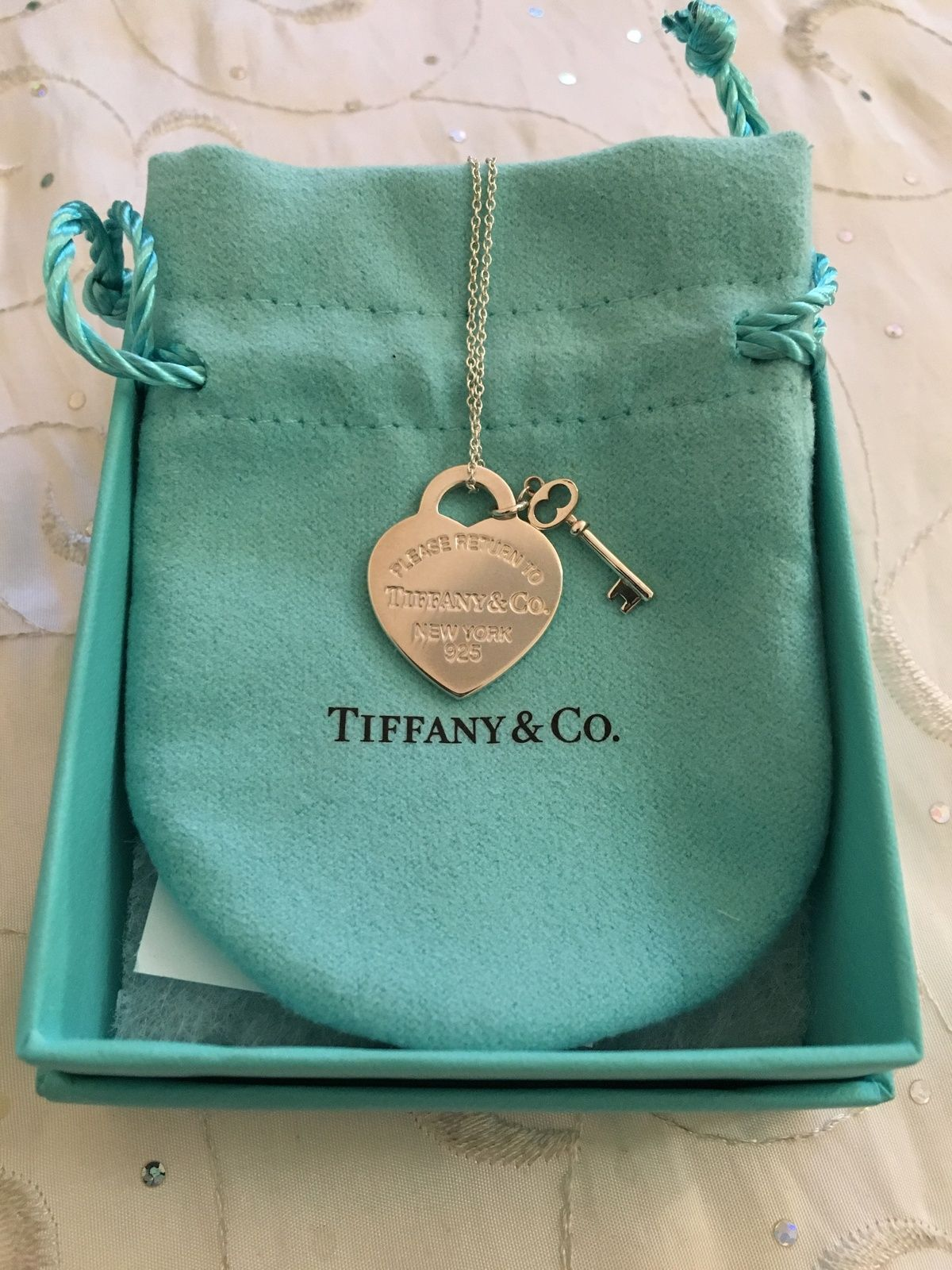 Tiffany & Co Return To Tiffany Sterling Silver Heart & Key Necklace -   -