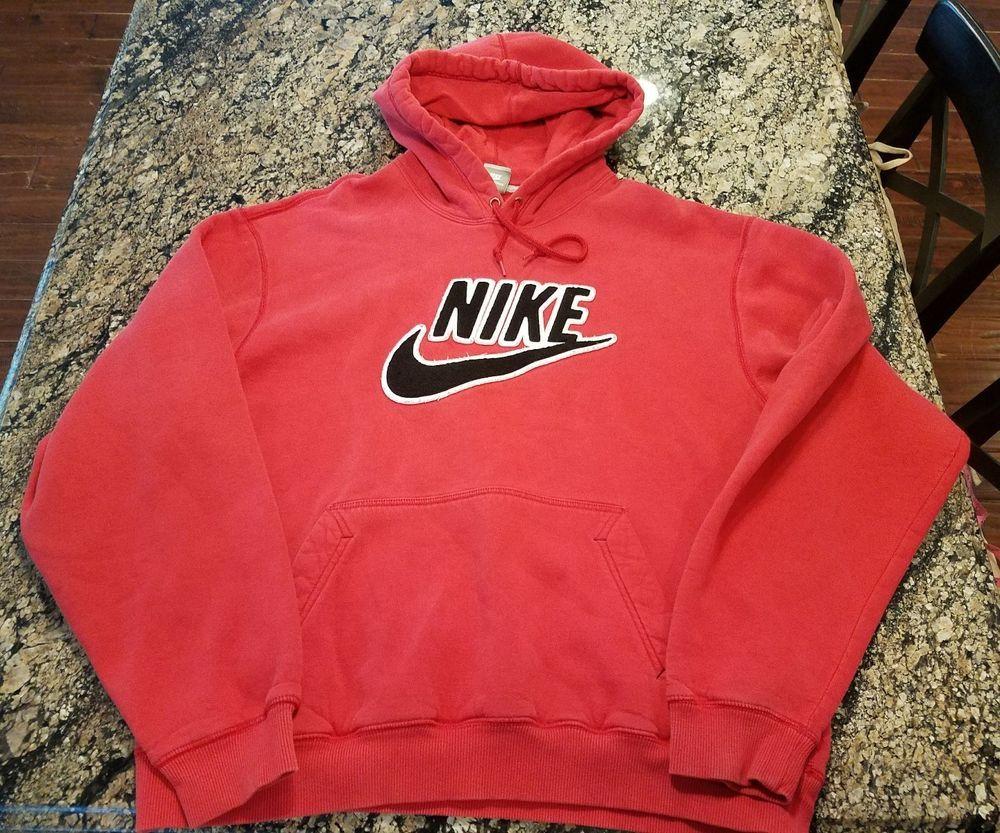 Vintage Nike Red Sweatshirt Raised Logo Mens Large Hoodie Nike Hoodie Red Sweatshirts Vintage Nike Sweatshirts