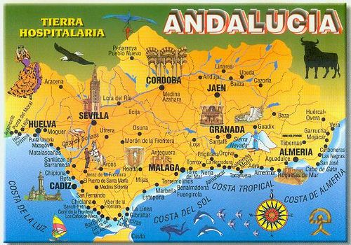 Detailed Map Of Southern Spain.Map Of Andalucia Spain From Disneydiddl Andalusia Andalucia