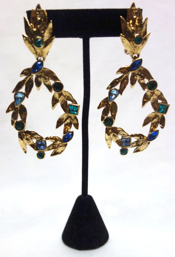 c4aef4d57f2 Vintage YSL Yves Saint Laurent Gilt and Faceted Crystal Drop ...