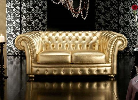 Gold Leather Sofa Set Gray Sectional Costco Out Of The Box Christchurch 3 Seater Chesterfield Golden