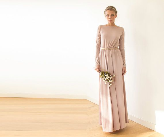 Romantic maxi dress, with long sleeves and open back. Stunning ...