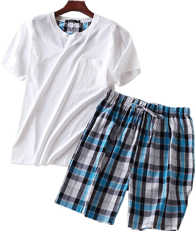 Men's Cotton Soft Sleepwear/Short Sets/Pajamas Set SY227 - Round White -  CD1800DOQ48   Short pajama set, Sleepwear shorts, Casual pants style