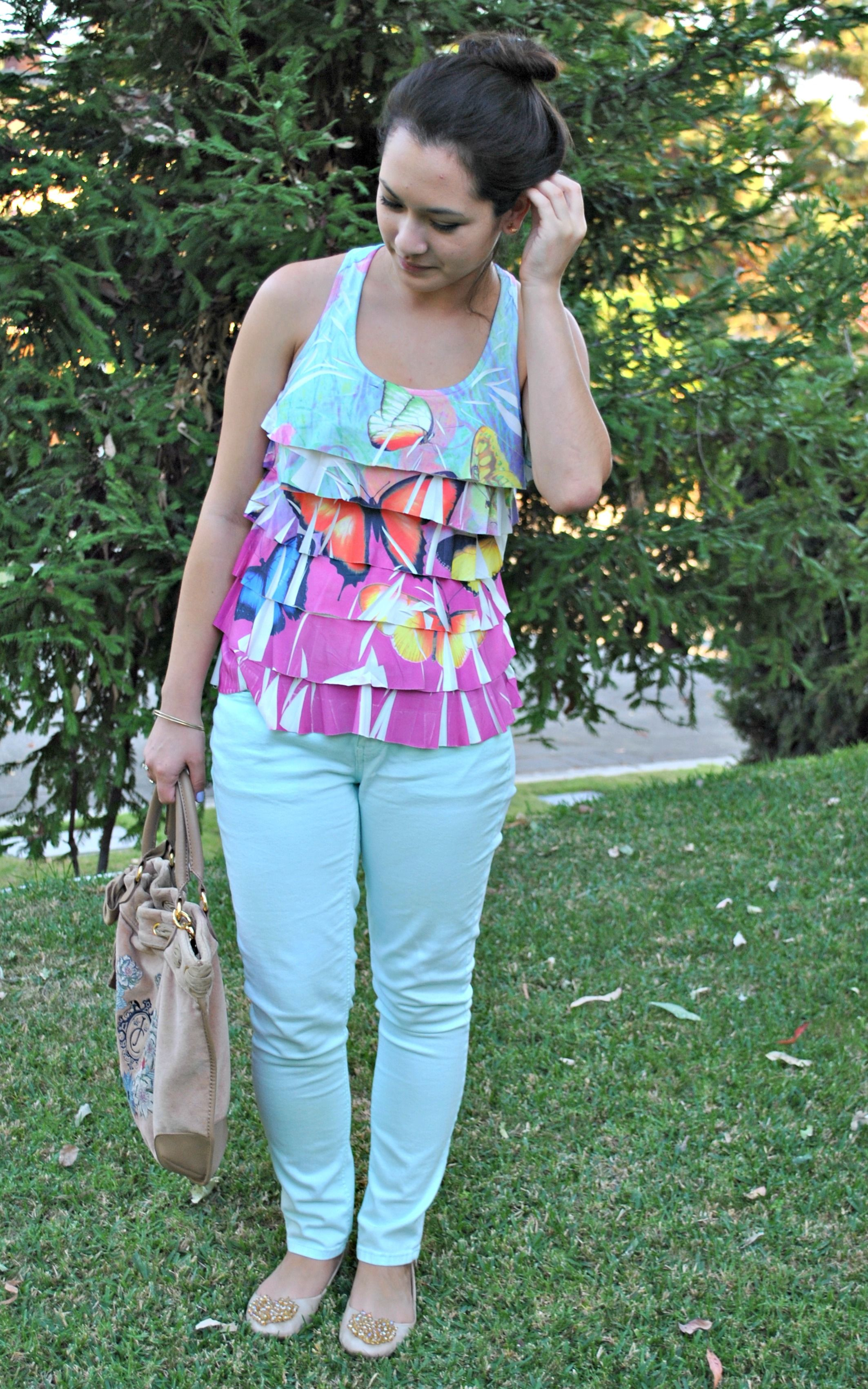 Ruffled Butterfly Blouse and Mint Jeans via adryonthedaily