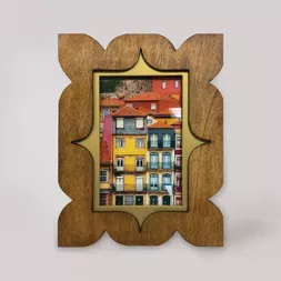 4 X 6 Ancer Wood Frame With Brass Accents Light Brown Opalhouse In 2020 Wood Frame Fiber Wall Art Picture Frames