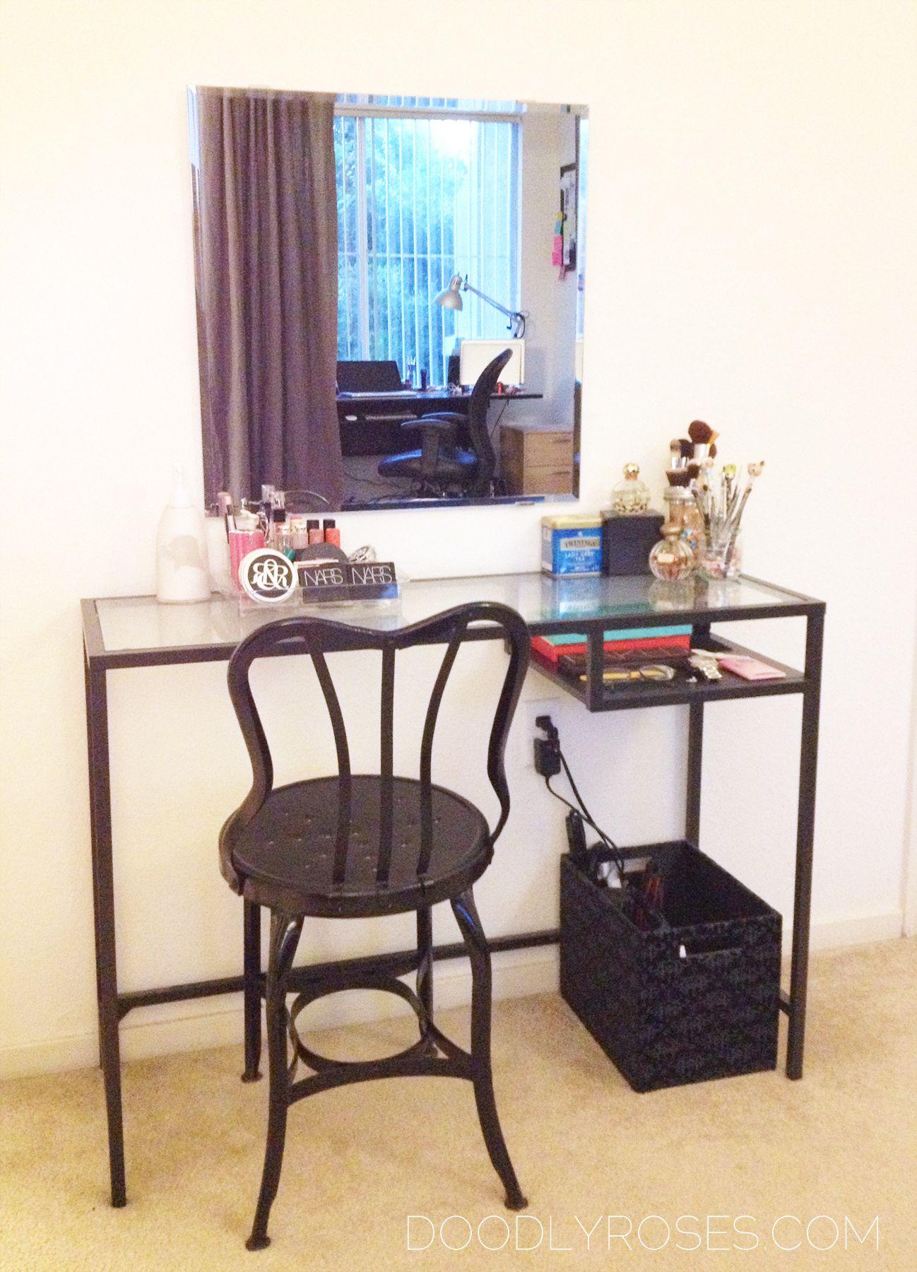 Using Ikea Vittsjo Laptop Table As A Vanity Ikea Vittsjo Minimalist Vanity Room Decor