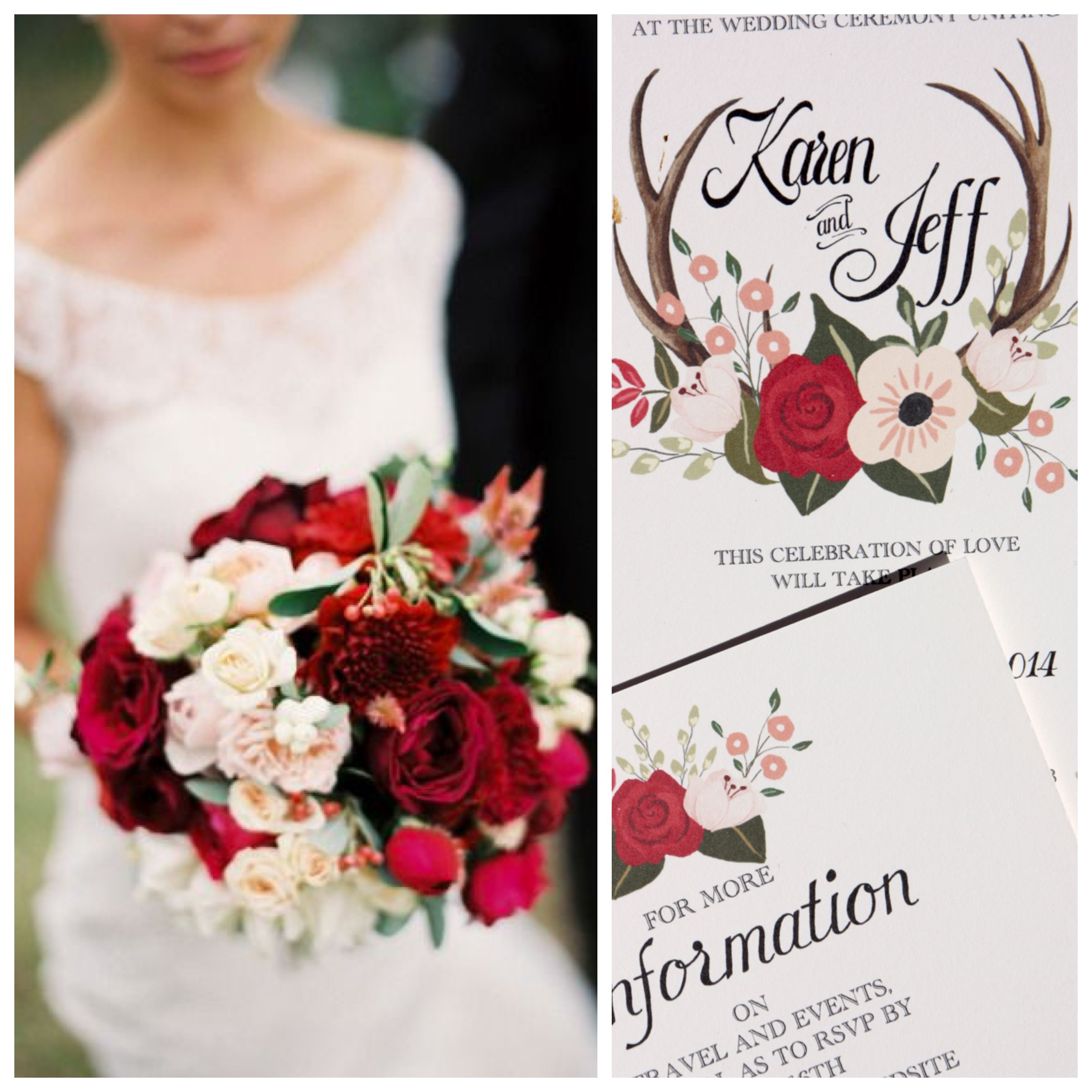 Gorgeous deep red and pale pink roses and antlers adorn this ...