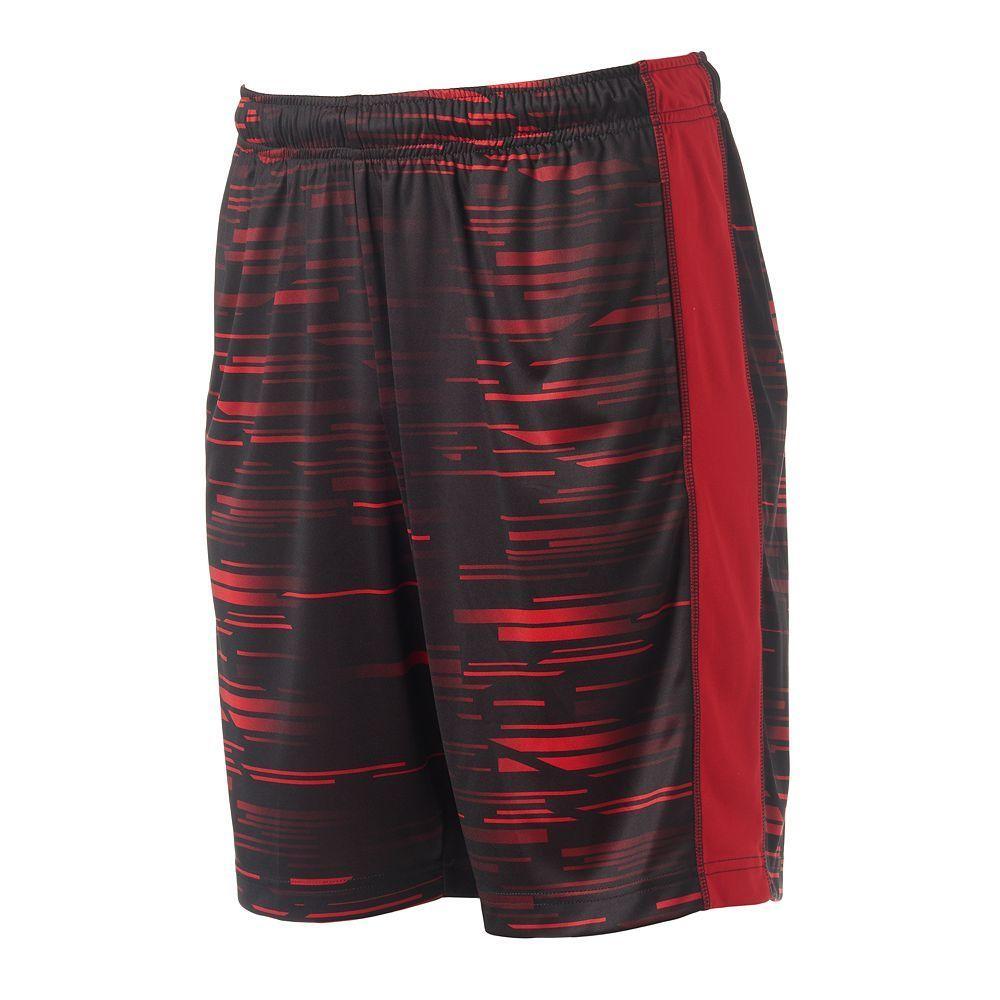 Men/'s Tek Gear Printed Dry Tek Shorts Large L Black Running Workout Gym