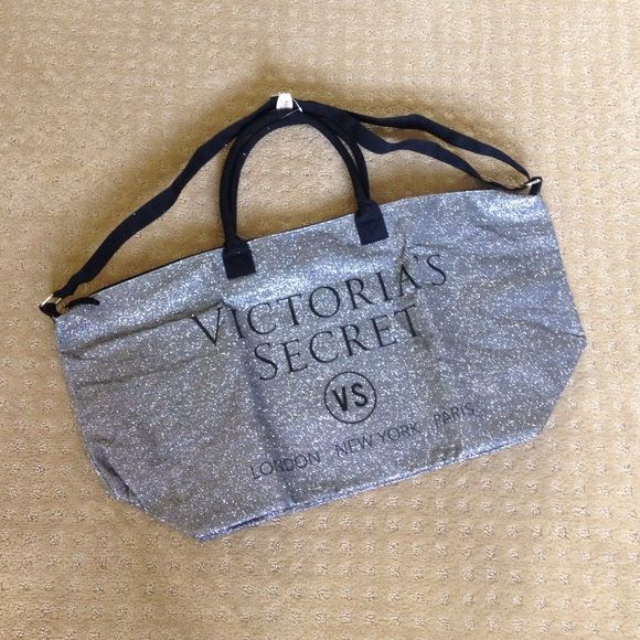 Victoria Secret Overnight bag NWT! Silver sparkle over night bag! Perfect size for an overnight stay. Victoria's Secret Bags